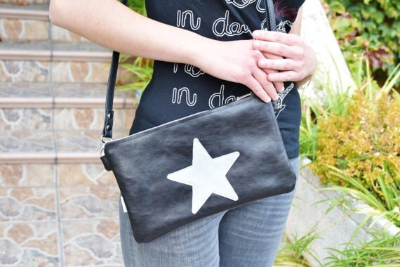 Star purse bag,leather handbag,black leather purse,leather black handbag,stars leather,stars purse bag,crossbody bag,steampunk,silver star