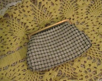 Art Deco Whiting And Davis White Enamel Mesh Coin Purse / 30s Credit Card Holder