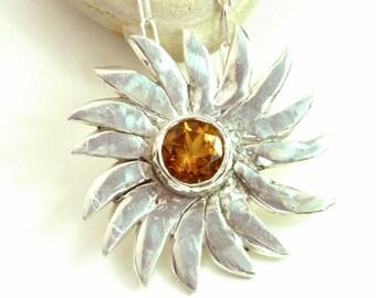 Citrine Sun Pendant Necklace, Sunflower, Sun Rays, Modern Minimalist, Sterling Silver, November Birthstone, Polished Sterling Pendant, Gift