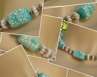 SALE Very Pretty Blue Rectangular Milk Glass Choker w Gold Accented Flowers &  Gold Tone Beads