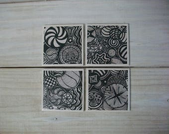 Zentangle Tile Coasters / Sister's Original Zentangle Coasters Set of 4 / Black and White Vintage Style Original Zentangle Coaster Set