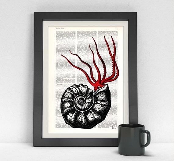 Wall art Hermit octopus print Dictionary art, Wall decor Octopus Print, ocean life art, seashore wall decor, sea life octopus BPSL080