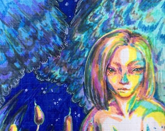 Night Encounter - OOAK Illustration Sketchbook Page
