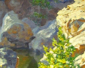 Contemporary Plein Air Oil Painting of the Malibu's Rock Pool, California