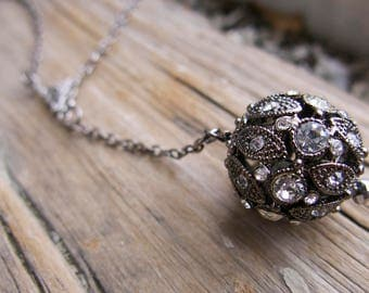 Orb Necklace Antique Inspired Drop Rhinestone Statement Jewelry Vintage Inspired Ball Sparkle Mother's Day Gift Unique Present Gothic
