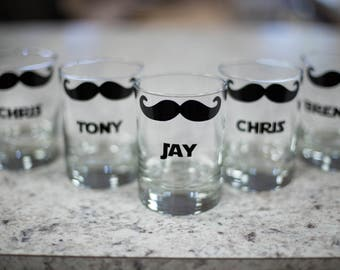 Gift for Groomsmen Mustache rocks glasses, scotch, old fashioned glasses personalized with groomsman name, best man gift