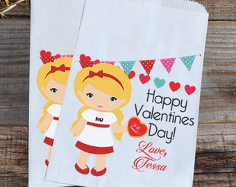 Valentines Day Blonde Girl Personalized Goodie Cookie Paper Bags for Valentine Girl Party Favors, or Giveaways