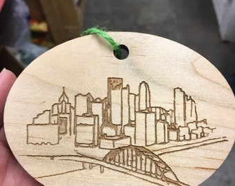 """Pittsburgh """"Skyline from West End"""" ornament"""