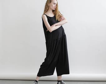 Loose summer jumpsuit, Black overall, loose fit one size romper