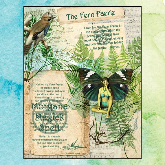 The FERN FAERIE, Digital Download, Faerie, Instant Download, Book of Shadows Page, Grimoire, Scrapbook, Spells