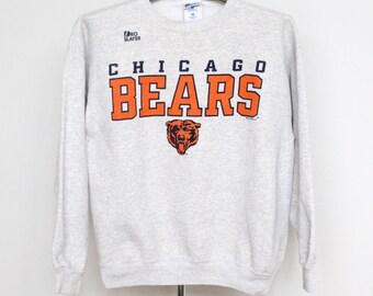 Chicago Bears Sweatshirt Mens Medium Unisex Womens Vintage 90s 1990s NFL Football Soft Sweat Shirt Gray Grey Pro Player