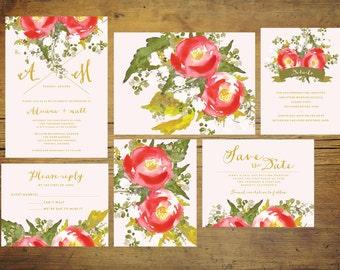 Rosie and Pink Wedding Invitation Set (Set of 25)   Wedding Invitation Suite, Watercolor Invitation, Floral, Pink, Red, Invitation