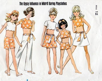 1960s Girl's Crop Top, Shorts, Pants & Skirt Pattern Butterick 5292 Child's Vintage Sewing Pattern Scalloped Midriff Top Size 12 Tweens