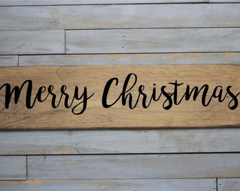 "Wooden Sign ""Merry Christmas"""