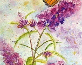 """Butterfly and Purple Flowers Original Watercolor Painting, Monarch Butterfly, Purple Butterfly Bush, Botanical, matted to 12"""" x 16"""""""