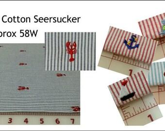 Seersucker Embroidered Seersucker Fabric Your Choice of Cut: Sailboats Crabs lobsters fleur de lis crayfish anchors