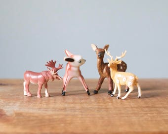 Vintage Woodland Animals Set | 4 Piece Mixed Lot of Little Deer and Moose