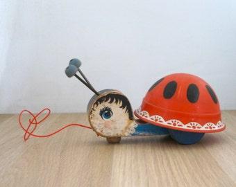 Vintage 1961 Fisher Price Ladybug Pull Toy