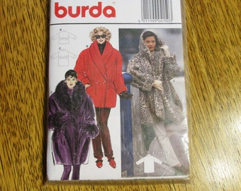 VINTAGE 1990's DUFFLE Coat w/ Big Shawl Collar / Hood & Drawstring Waist - All Sizes 10/12 - 14/16 - 18/20 - UNCUT Sewing Pattern Burda 4150