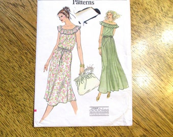 "BOHO 1970's Off the Shoulder Mini Peasant Dress / Summer Maxi Gown - Size 8 - 10 (Bust 31.5 - 32.5"") - VINTAGE Sewing Pattern Vogue 7078"