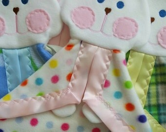 Multi color polka dot Fisher Price replica bunny lovey blanket