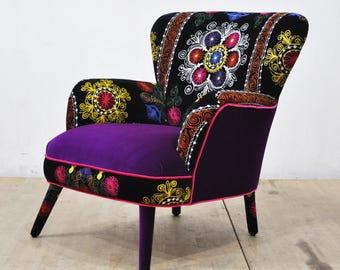 Suzani Armchair - purple love II