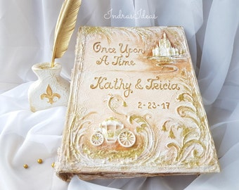 Special listing for  Honeybee.. Large Fairytale wedding Photo album, Once Upon a Time wedding Photo album, castle  photo album, memory album