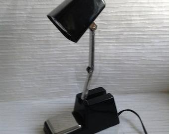 Vintage Hi Intensity LAMP.  Black Plastic mod light. WORKS.  Vintage 1970.   No Makers Mark.  Modern Panton Eames era. Mid century.