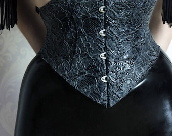 Textured latex-lace underbst corset