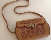 RESERVED Vintage Tooled Leather Purse 1950's Small Shoulder Bag Western Cowgirl