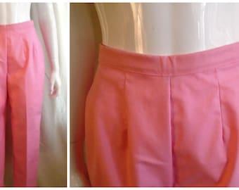 Vintage 1960s Capri Pants Pink Twill Cigarette Pants White Stag