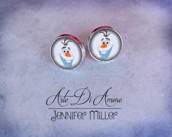 Christmas Snowman 2 Dangle or Stud Earrings or Cufflinks