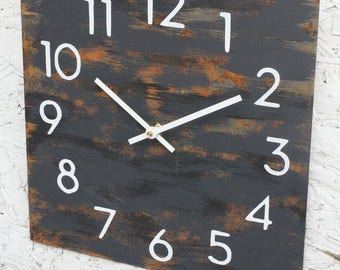 Metal Wall Clock. Modern Industrial. Rust. Chic. Gray. Grey. Abstract. Distressed. Minimalist. Art. Decor. Rusty Functional Art. Gift. Clock