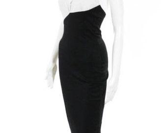 KARL LAGERFELD HALTER V Neck Black and White Color Block Chic Cocktail Dress Size 40