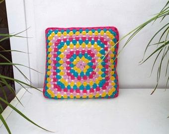 Crochet Cushion, Wool Cushion, Decorative Pillow, Multicoloured Cushion, Home Decor