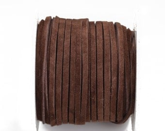 """1/8"""" Suede Leather Lace, DARK BROWN Cafe' Coffee, real leather by the yard, Realeather made in USA, 3mm wide, 25 yards, Lth0024"""