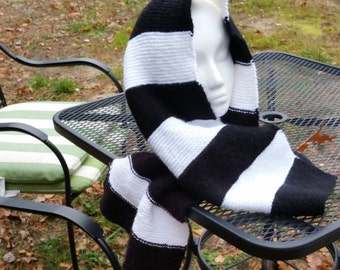 Hooded Black and White Striped Hand Knitted Scarf- Hooded Scarf- Hand Knitted Scarf- Black and White Stripe Scarf- Hooded Knitted Scarf