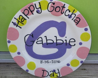 "Personalized Happy Gotcha Day Gift 8"" or 10"" Plate, can also be Happy Birthday or Big brother or sister day!!"