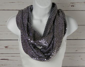 Infinity Scarf Silver Sparkle Metallic Sequin Dots on Black Knit Party Glamour Accessory Scarf