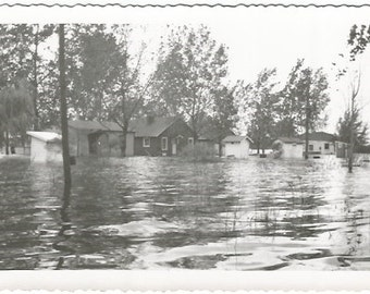 Epic Flood 1950's Flooded Homes and Streets from Real Photograph Vintage  Photograph/Postcard Size Black and White