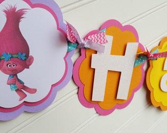Trolls Happy Birthday OR Name banner, Trolls Party decorations. Trolls Birthday. Trolls party. Troll Banner. Birthday Decorations