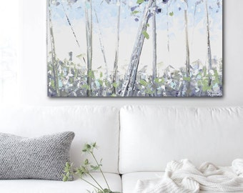 ORIGINAL Art Abstract Painting Trees Painting Birch Tree Acrylic Painting Large Art Wall Decor Textured Palette Knife Blue Green - Christine