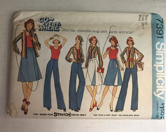 Vintage 70s Simplicity 7391 Vintage Wrap Skirt, Top, Pants and Scarf Size 10