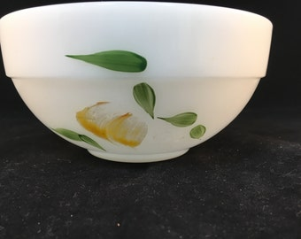 Vintage White Fire King Small Mixing Bowl with Yellow Fruit and Green Leaves Oven Ware by Fire King, Made in USA 3 Inches Tall 6 Inches Wide