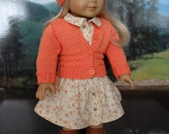 Contemporary peach flowered dress and matching sweater and hat for American Girl or similar 18 inch doll.