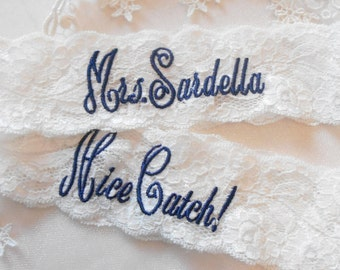 "MONOGRAMMED Wedding Garter Mrs. Toss With Phrase ""You're Next! Bridal Garter Floral Stretch Lace Bridal Garter Single Garter"