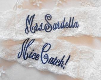 "MONOGRAMMED Wedding Garter Mrs. Toss With Phrase ""You're Next! Bridal Garter Floral Stretch Lace Bridal Garter Single Garter"