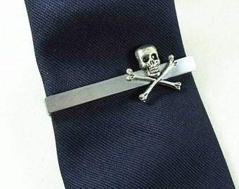 Mens Tie Clip Silver Pirate Skull and Cross Bones, Steampunk Gothic Mens Accessory Wedding Groomsmen Handmade