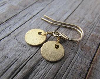 Gold Earrings, small, simple, gold disc dangle earrings