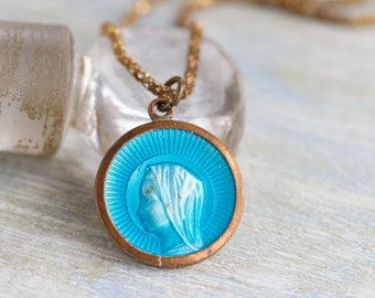 Blue Enamel Medallion Necklace - Antique Virgin Mary Pendant on Chain  - Religious jewelry